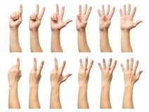 Five counting male hands isolated on white. Background Stock Photo