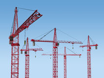 Five Cranes on Site Stock Photos