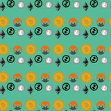Cryptocurrencies seamless pattern Stock Images