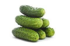 Five cucumbers Stock Image