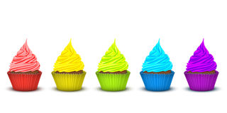 Five cupcakes bright supersaturated colors Royalty Free Stock Photography