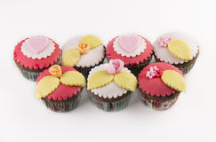 Five  cupcakes. On white background Stock Photo