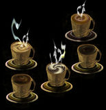 Five cups with different kinds of coffee. Fractal cups with saucers with hot coffee and chocolate drink on a black background Royalty Free Stock Images