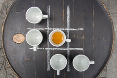 Five Cups of espresso at the table Stock Images