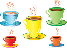Five cups. A vector illustration of five different cups and saucers Stock Image
