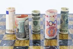 Five currencies, five global players Royalty Free Stock Photo