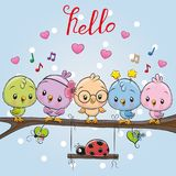 Five cute birds and ladybug. Five cute cartoon birds and ladybug on a branch royalty free illustration