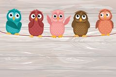 Five cute colored owlet sitting on a rope. A red hearts with a p. Icture hanging on a rope. Valentine`s Day. Vector illustration on wooden background. Greeting stock illustration