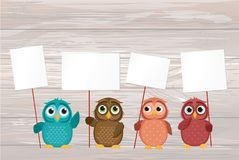 Five cute colored owlet sitting on a rope. A red hearts with a p. Icture hanging on a rope. Valentine`s Day. Vector illustration. Greeting card with empty space vector illustration