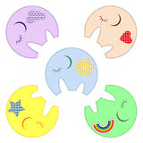 Five cute elephats Stock Images