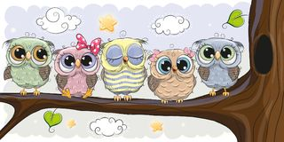 Cute Owls is sitting on a brunch royalty free illustration