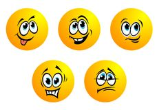 Five cute yellow vector emoticons Royalty Free Stock Photography
