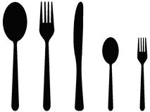 Five cutlery Royalty Free Stock Images