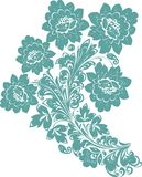 Five cyan flower illustration Royalty Free Stock Image