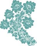 Five cyan flower illustration Royalty Free Stock Image