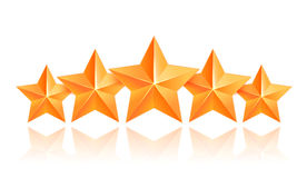 Five 3d gold stars premium. The best reward Royalty Free Stock Photography