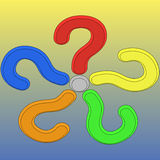 Five 3d question marks Stock Image