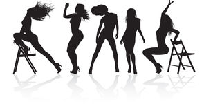 Five dancing girl. Girl dancing in a variety show Stock Images