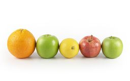 Five a day. Five different fruits in a row Royalty Free Stock Image