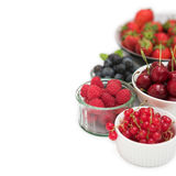 Five a day. Selection of berries & fruits - shallow dof over white Royalty Free Stock Image