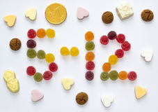 Five december spelled with holiday candy Royalty Free Stock Photography