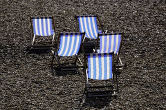 Five Deckchairs Stock Images