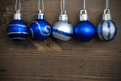 Five Decorated Christmas Balls in a Line Stock Photos