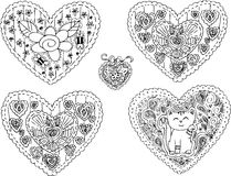 Five decorated heart shapes vector Royalty Free Stock Photos