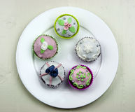 Five decorated muffins on white dish Stock Images