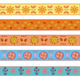 Five decorational borders. With flowers Royalty Free Stock Photos