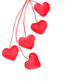 Five decorative red heart Royalty Free Stock Image