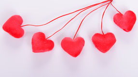 Five decorative red heart Stock Photo