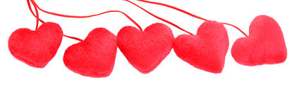 Five decorative red heart Stock Images