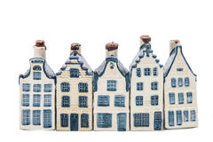 Five Delft blue houses Royalty Free Stock Image