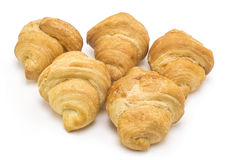 Five delicious filled croissants on white background Royalty Free Stock Photo