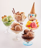 Five delicious ice cream desserts Royalty Free Stock Images