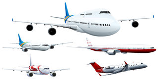 Five designs of airplanes royalty free illustration