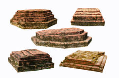 Five destroyed brick pagoda bases Stock Image