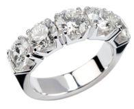 Five diamond silver ring Royalty Free Stock Photo