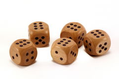 Five Dice. Lucky throwing all of dice is six stock photography