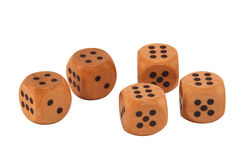 Five dice. Showing a full house of sixes and fours royalty free stock photography
