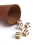 Five Dice And Dice Box Royalty Free Stock Images