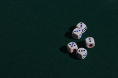 Five dice for the game  on a green cloth Royalty Free Stock Photo