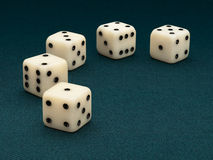 Five dice Royalty Free Stock Images
