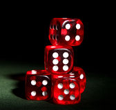 Five dices. On a green table stock image