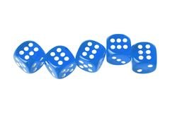 Five dices. Five blue dices displaying six isolated on white stock photos
