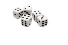 Five Dices. Four, three, two dices isolated stock image