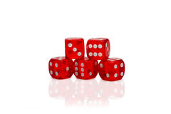 Five dices isolated on white. Five dices on white background royalty free stock image
