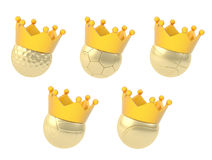 Five different balls in the crown Stock Photos