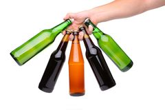 Five different bottles fan. On a white bacground Royalty Free Stock Photos